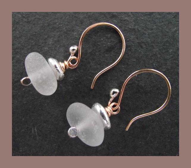 Genuine Sea Glass, bronze and silver earrings £15.00