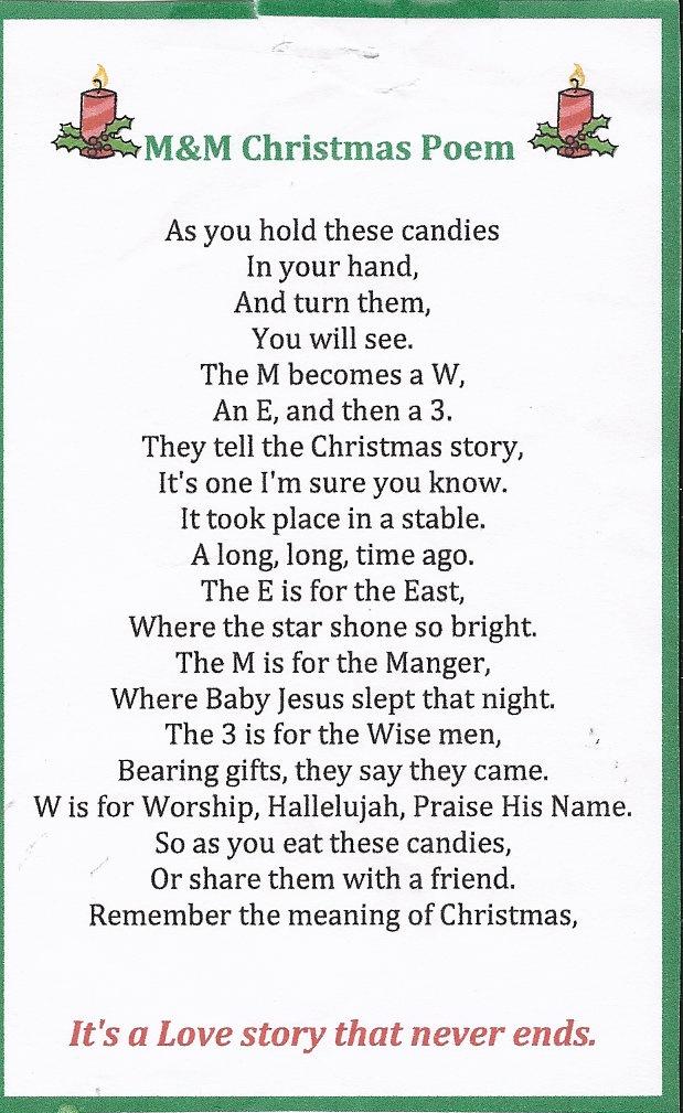 M&M Christmas story Christmas poems, Christmas crafts