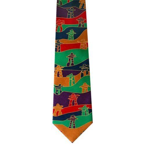 Inukshuk Silk Necktie with artwork by Chippewyan Native Artist Dawn Oman
