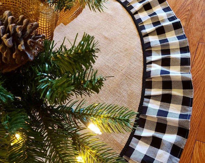 Xl Large Christmas Lantern Swag Winter Lantern Swag Woodland Etsy Burlap Tree Skirt Plaid Tree Skirt Christmas Tree Skirt