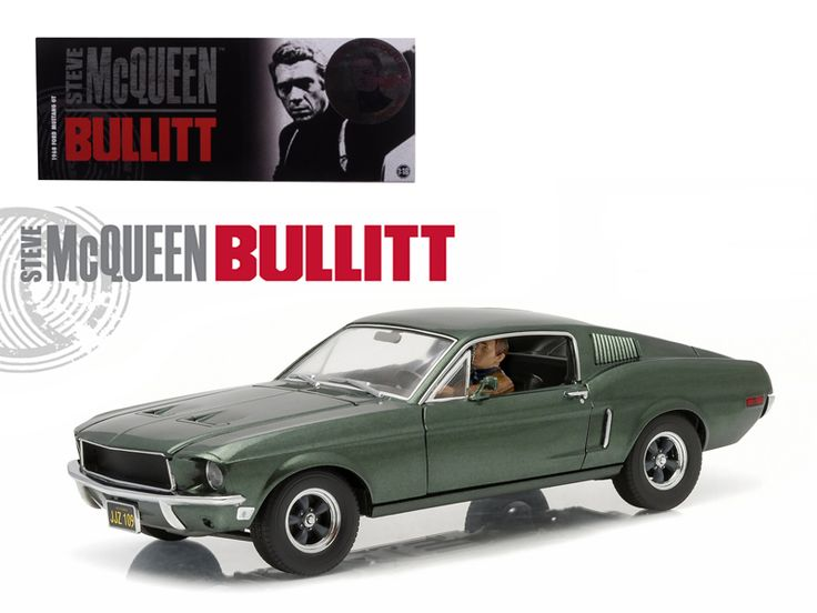 "1968 Ford Mustang GT Fastback ""Bullitt"" Highland Green with Steve Mcqueen Driving Figure 1/18 Diecast Model Car by Greenlight - Brand new 1:18 scale diecast car model of 1968 Ford Mustang GT Fastback ""Bullitt"" Highland Green with Steve Mcqueen Driving Figure die cast car model by Greenlight. Customized, movie themed packaging. Figure is officially approved by the Chadwick McQueen and The Terry McQueen Testamentary Trust. Limited Edition 1:18 combo release. True-to-scale detail. Serialized…"