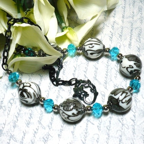 Aqua Crystal with Black and White Porcelain Bead Black Chain Necklace