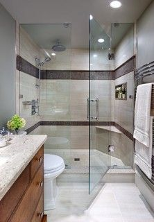 I love the tile border in shower & the built in ledge.See Jane Lockhart,  Bathroom Mission style contemporary bathroom on houzz