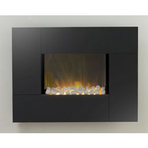 Wall hung electric fire with DIY fireplace/mantel