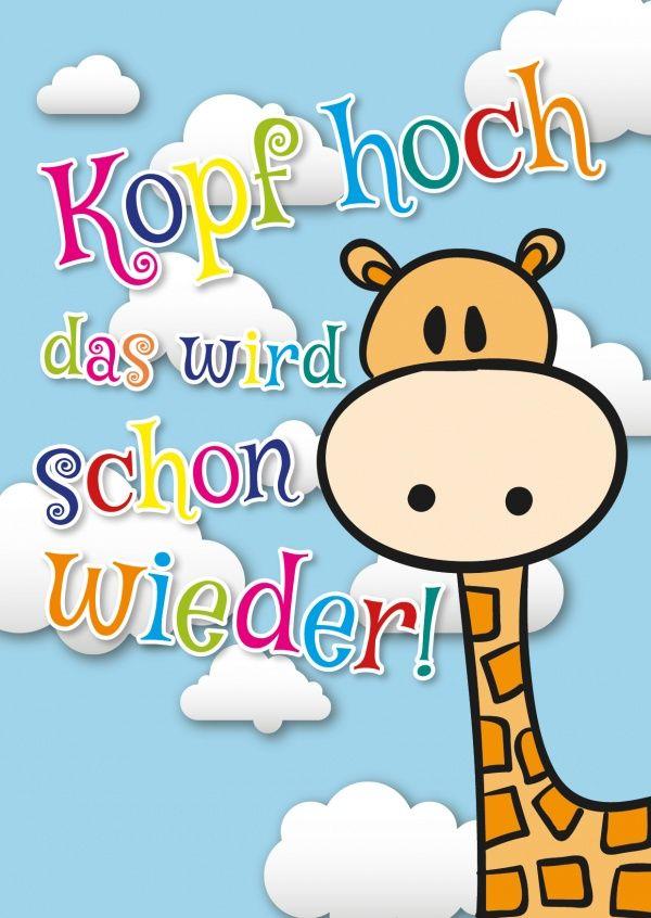 Die Kopf-hoch-Giraffe | Gute Besserung | Echte Postkarten online versenden | MyPostcard.com