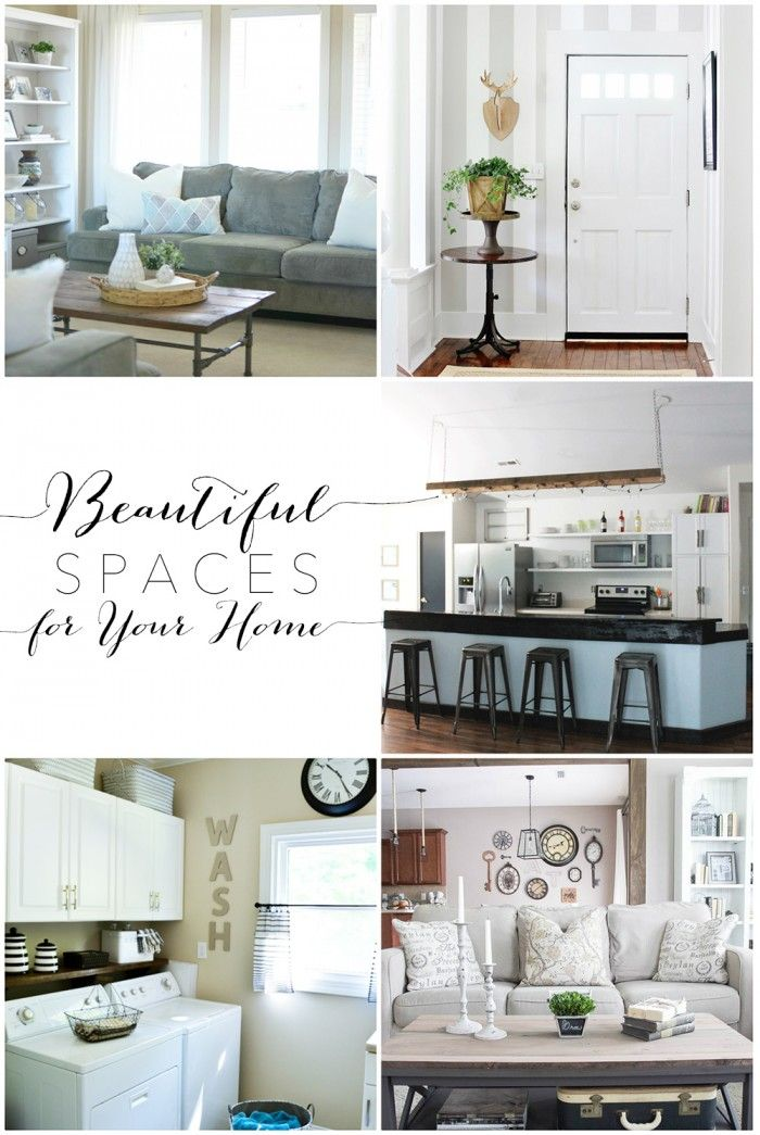 Can someone say gorgeous? These beautiful spaces for your home were featured at the Moonlight & Mason jars link party. Lovely living rooms, entryway, kitchen, and laundry room to inspire you in your home via dandelionpatina.com #cottagestyle