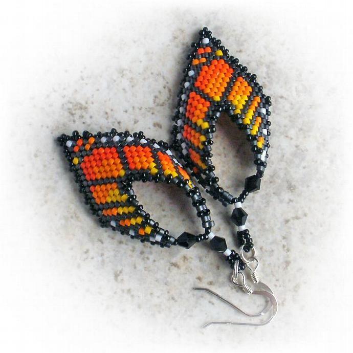 Monarch Butterfly Leaf Earrings : Russian Leaf Style : Black and Orange Earrings