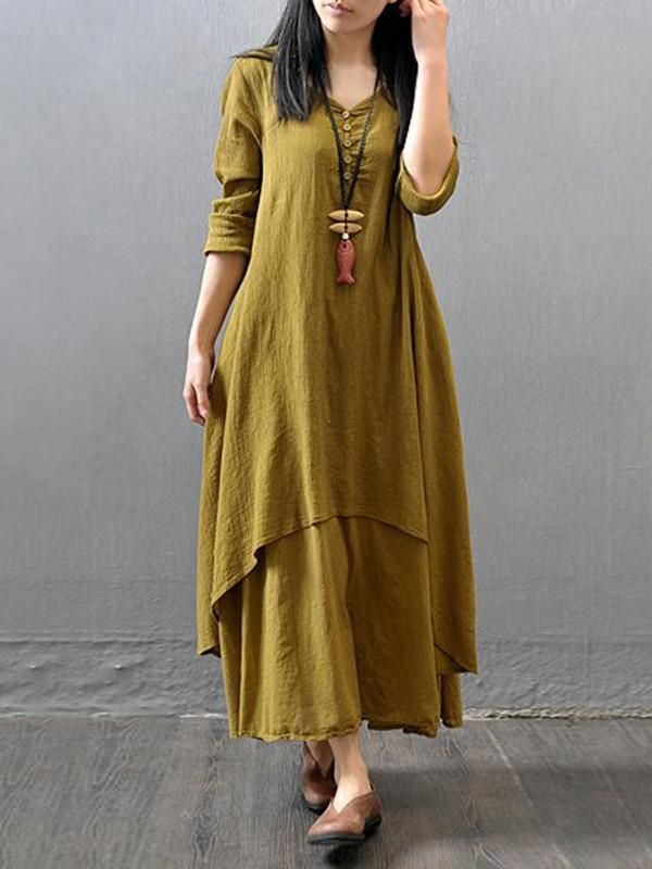 376c7daa4d Loose Solid Color 3/4 Sleeve Round Neck Maxi Dress in 2019 | Simple ...