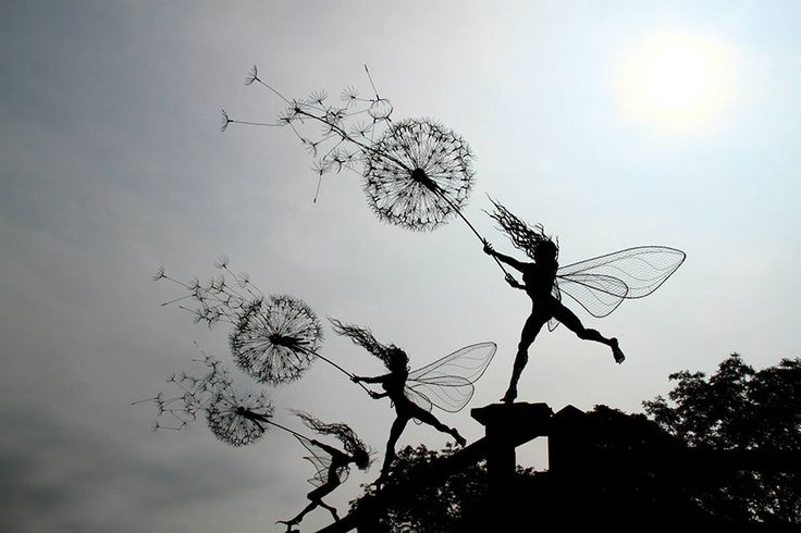 fantasywire-wire-fairy-sculptures-robin-wight-1 Robin Wight, a UK-based sculptor that works primarily with stainless steel wire, has mastered the creation of enchanting and dynamic fairy sculptures that seem to dance in or struggle against the wind.
