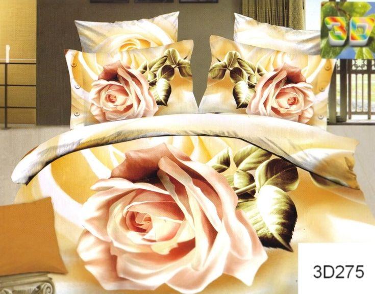Pościele z bawełny w kolorze żółtym z kremową różą