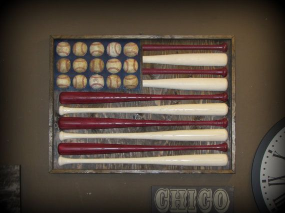 Baseball bat American flag made with full size baseball bats and baseballs. Each flag is constructed of four 33 inch hand turned baseball bats