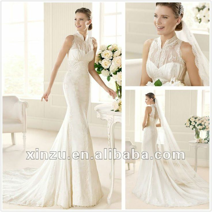 Wedding dress high collar and beautiful lace back for High collared wedding dress