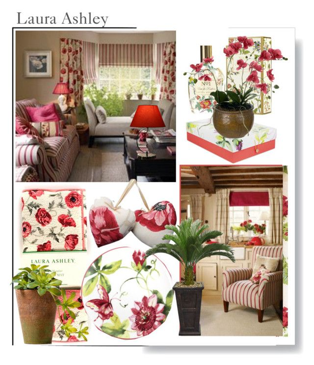 """""""Laura Ashley Florals....Red & Green"""" by beleev ❤ liked on Polyvore featuring interior, interiors, interior design, home, home decor, interior decorating, Laura Ashley, Warehouse of Tiffany, Sia and lauraashley"""