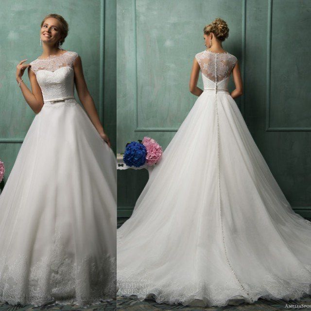 See Through Buttons Back Sheer Neck Lace Appliqued Ball Gown Wedding Dress with Sleeves 2015 $209.00