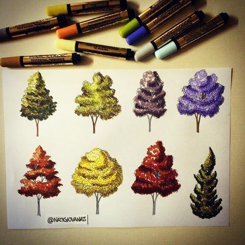 Trees colors!  #art #arte #arqui #arquinews #arquiteta #arquitetura #arqsketch #arch #archi #archiart #archilovers #architecture #arquitectura #paisagismo #arvores #desenho #desenhando #draw #drawing #dibujo #colorful #markers #marcadores #arquitetapage #archcenter #44arquitetura #arquisemteta #coloring_secrets #arch_cad