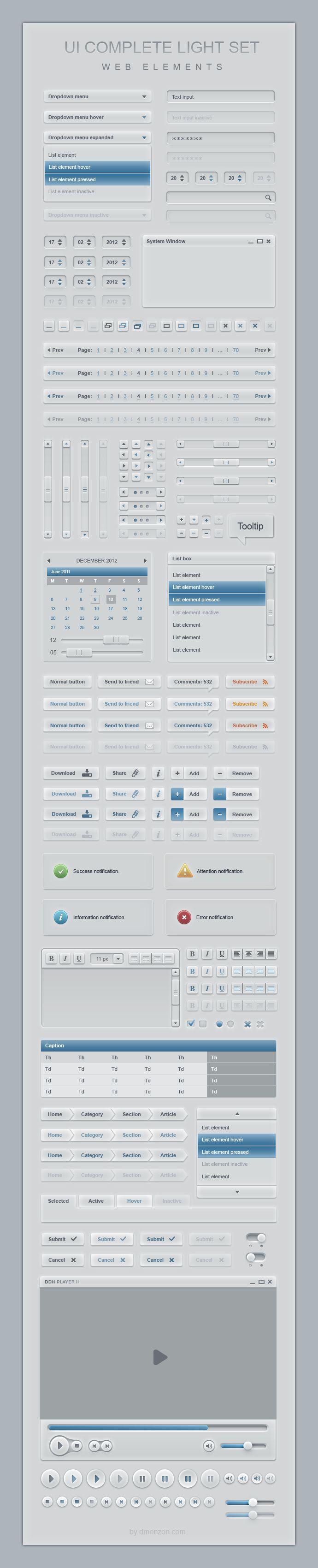 Complete Web User Interface Light Elements Set