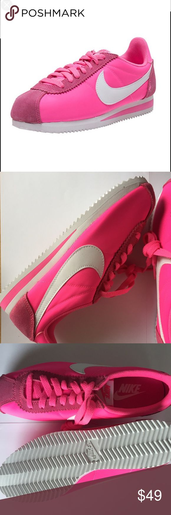 BRAND NEW Women's NIKE CLASSIC CORTEZ NYLON SHOES BRAND NEW without box!  Nike women's Cortez classic nylon tennis shoes!  Color: pink blast / white.  Nike 749864 - 610.  Super stylish and comfy! Nike Shoes Athletic Shoes