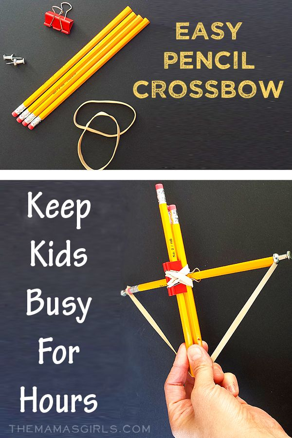 Keep little minds and bodies busy with this fun project. Easy Pencil Crossbow via The Mama's Girls