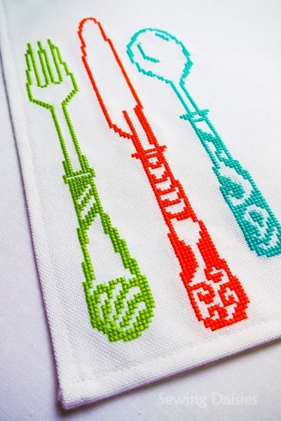 Cutlery Cross stitch by Sewing Daisies (pattern from Cross Stitcher Magazine Spring 2011)