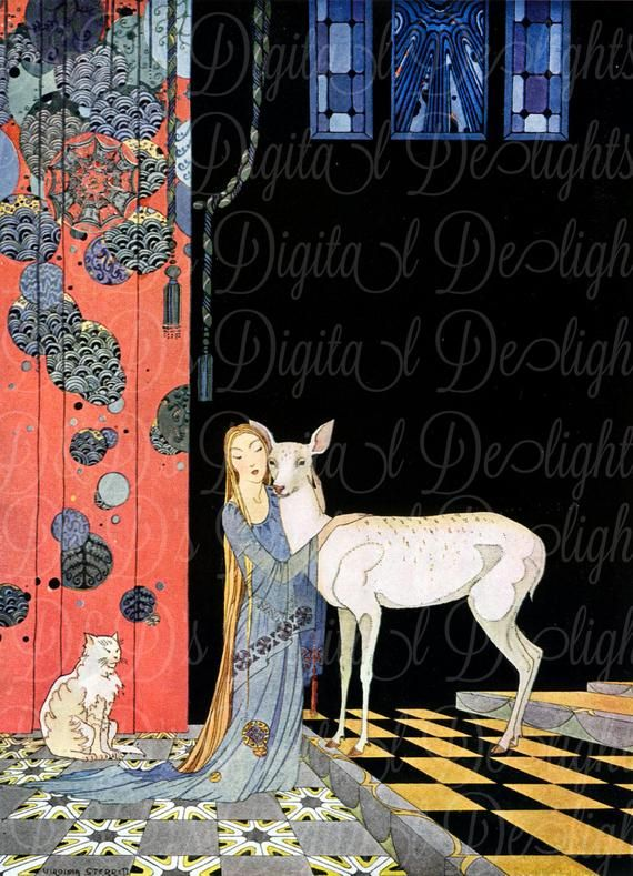 RARE. Princess and Fawn. DECO French Fairy Tale. Vintage Illustration. Fairy Tale Digital Download. Virginia Sterrett. From FIRST Edition