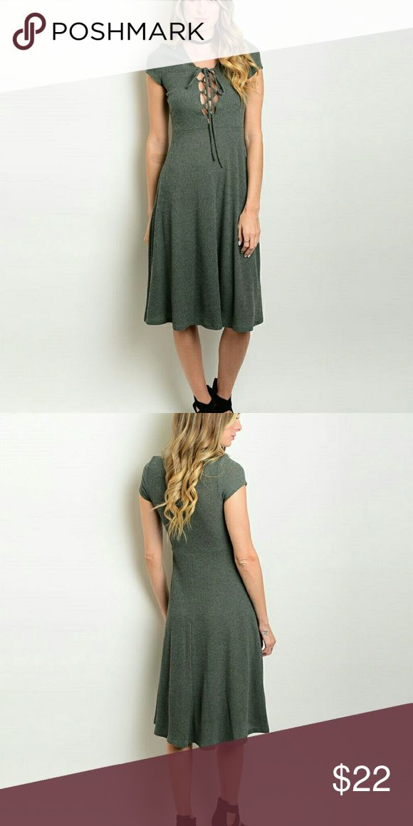 Olive green dress Olive green midi dress with lace up, ribbed, polyester spandex material, figure flattering for all body types. Dresses Midi