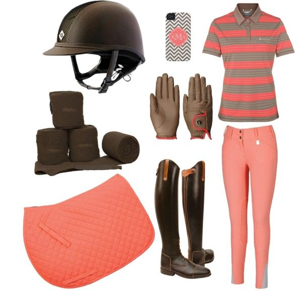 Coral and brown riding outfit