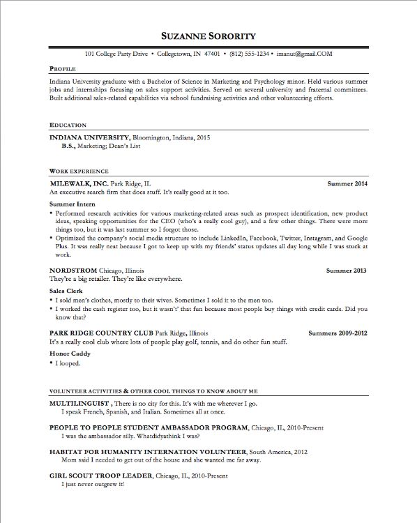 the ultimate resume template for any 22yearold