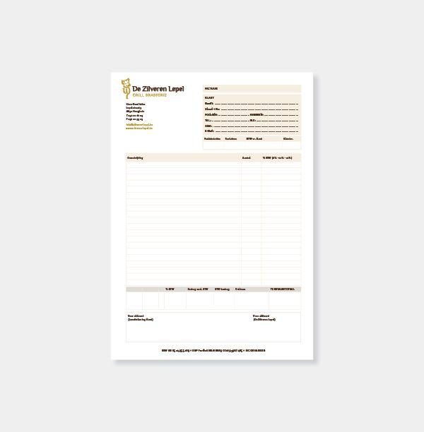 De Zilveren Lepel - Huisstijl realisatie - Communicatie en reclamebureau 2design Roeselare - Grafisch ontwerp, webdesign en apps - Huisstijl - bestelbon/factuur
