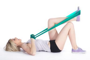 Exercise for Sciatica related to Herniated Disc: If your core is weak, try the supine one legged hamstring strengthening exercise with resistance band.