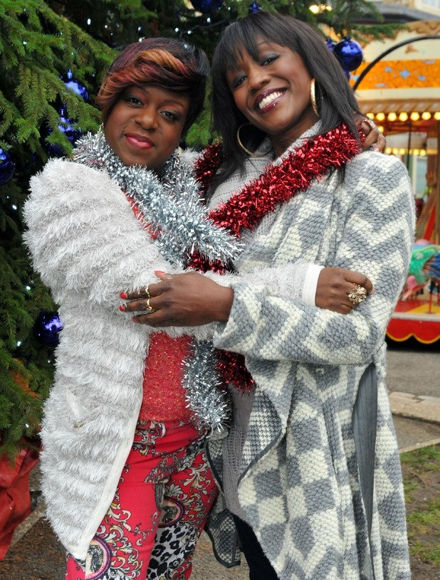 EastEnders // EastEnders Christmas 2012: Tameka Empson as Kim Fox and Diane Parish as Denise Fox .