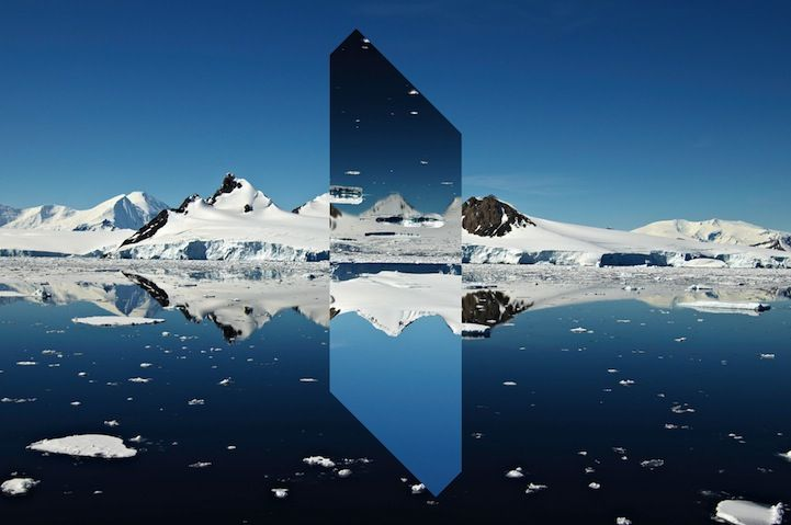Landscape Monolith, Reynald Drouhin alters crystal clear landscapes by turning sections of the land upside-down.
