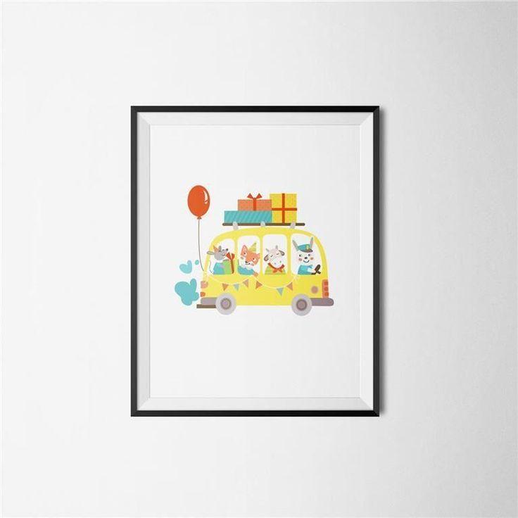 Grafisk A3 POSTER söt tavla barnrum djur i bil födelsedag
