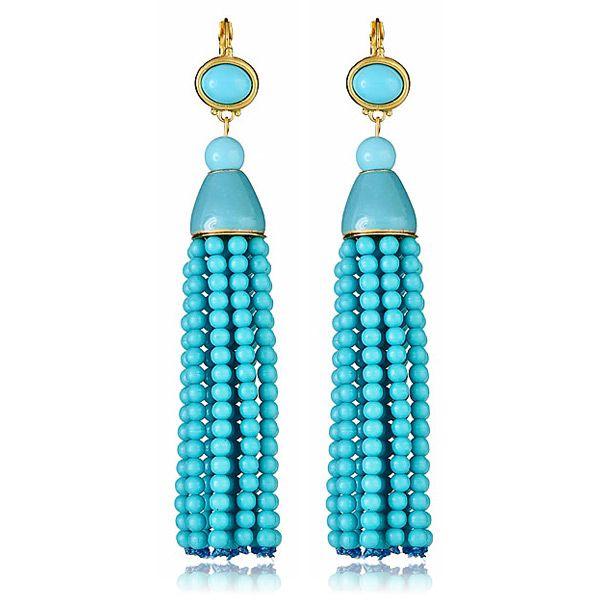 Kenneth Jay Lane Turquoise Tassel Earrings www.HAUTEheadquarters.com