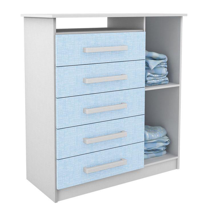 Gostou desta Cômoda Infantil 5 Gavetas e 1 Porta Branco/Azul 1d150 - Rodial, confira em: https://www.panoramamoveis.com.br/comoda-infantil-5-gavetas-e-1-porta-branco-azul-1d150-rodial-4383.html