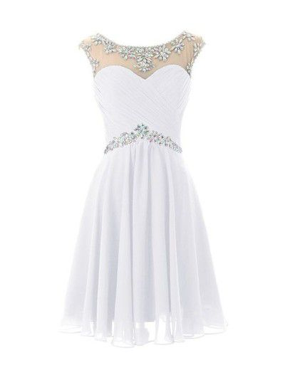 A-line Scoop Neck White Chiffon Cap Sleeve Short Prom Homecoming Dresses APD1562