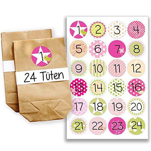 Adventskalender Miniset 14 - Aufkleber und Tüten