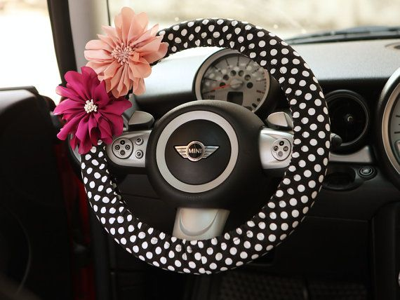 Car Steering wheel cover-Polka Dots with Chiffon Flower, Unique Automobile Accessories, Car Decor, Automobile Wheel cover, Valentine Gift on Etsy, $16.00
