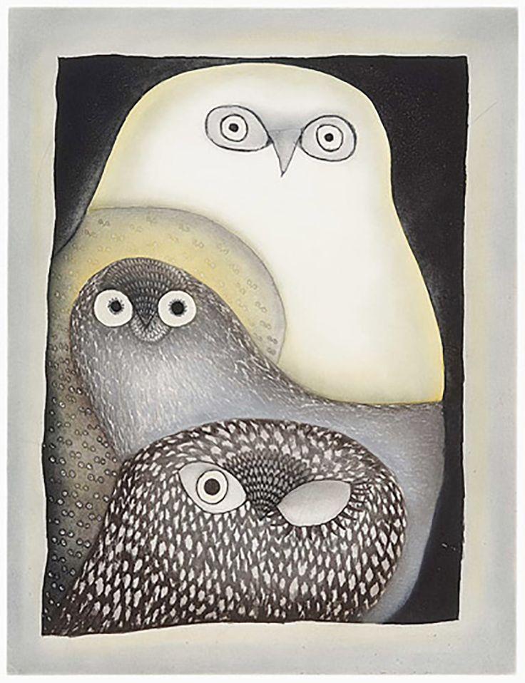 Ningeokuluk Teevee - Owls In Moonlight 41.5 x 31.5 Etching and aquataint (2007)