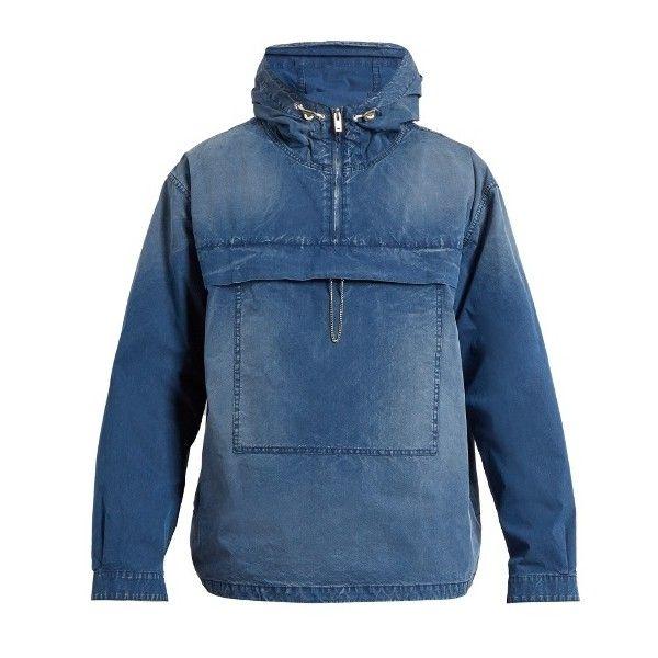 Maison Margiela Hooded cotton-blend jacket ($918) ❤ liked on Polyvore featuring men's fashion, men's clothing, men's outerwear, men's jackets, indigo, mens oversized denim jacket, mens distressed leather jacket, mens hooded jackets and mens zip jacket