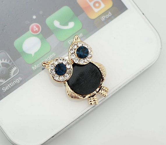 Bling Crystal Cute Owl iPhone Home Button Sticker, phone charm accessary for iPhone 4/4s, iPhone 5, iPad, gift box on Etsy, $3.90