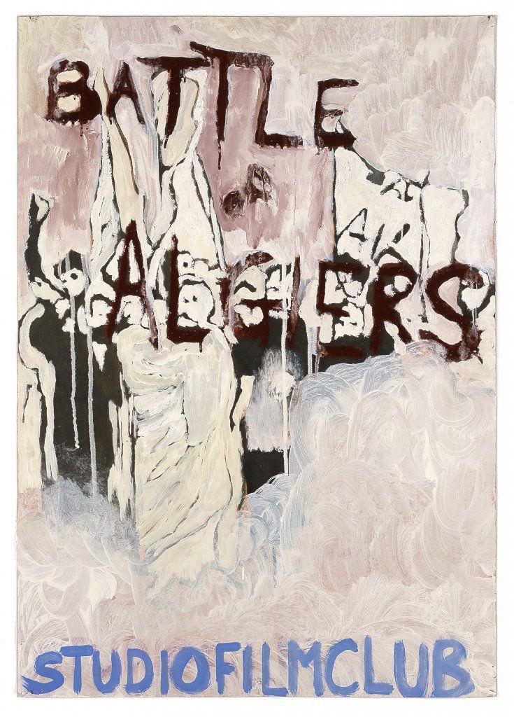 """BATTLE OF ALGIERS""  2005 [""The Battle of Algiers / Die Schlacht um Algier"" DZ / I 1965, 117', R / D: Gillo Pontecorvo] Sammlung Ringier oil on paper 84 x 60 cm / 33 x 24"" PETER DOIG."