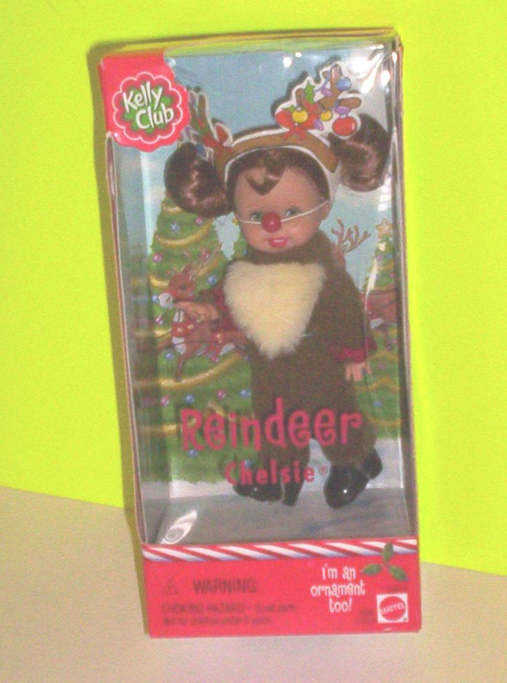 Barbie Kelly REINDEER CHELSIE DOLL Christmas Rudolph Costume TREE ORNAMENT TOO!  #DollswithClothingAccessories