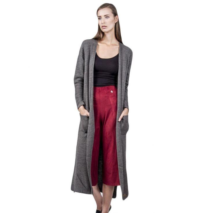AGGEL Γυναικεία μακριά ζακέτα, τσέπες, σκούρο γκρι
