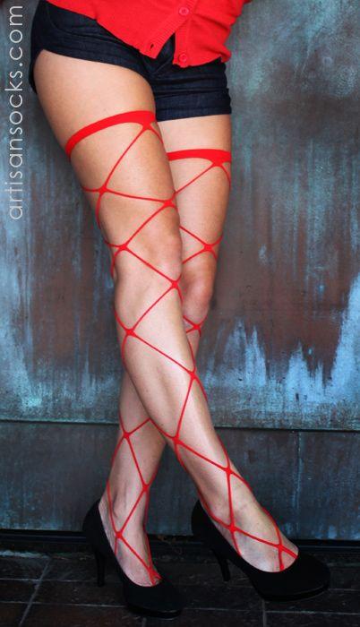 Sexy Pirate- Sexy Jumbo Fishnet Thigh Highs from Artisan Socks www.artisansocks.com