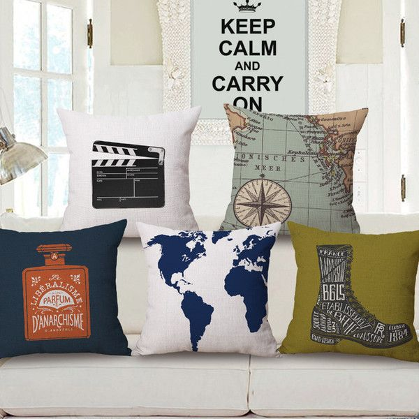 7 Styles Ocean Boat Anchor Custom Cushion Covers World Map Spider Throw Pillows Covers Flower Decorative Cases 45X45cm Sofa Decor Kids Gift
