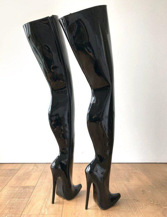 4368959e9cbb RTBU CHRIS Hard Shaft Customized Crotch Hi 18cm Stiletto Boot Black ...