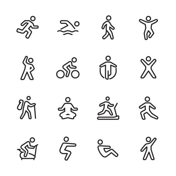 Sport And Fitness Outline Icon Set Vector Art Illustration Fitness Icon Icon Set Pictogram