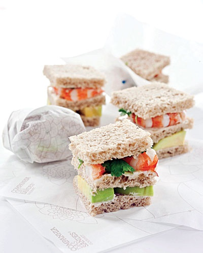 tramezzini (Gourmet Sandwiches on specialty Tramezzini mini shrimp, avocado and cilantro)