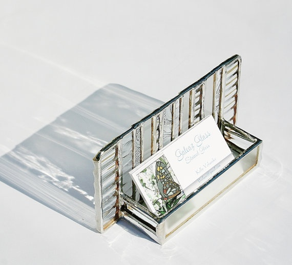 Stained Glass Business Card Holder Clear Architectural Art Glass Modern Contemporary Desk Accessory