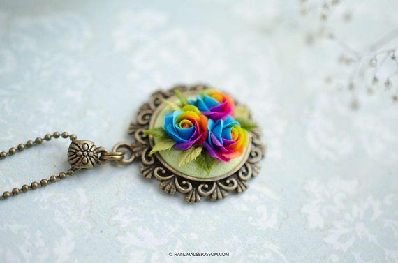 Polymer clay rainbow rose jewelry, Rainbow roses pendant, Miniature flowers pendant, Handmade tiny floral necklace, Multicolor rose jewelry, Handmadeblossom